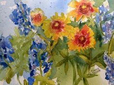 """More Wild Thangs"" by Texas Watercolor Artist, Karen Scherrer"