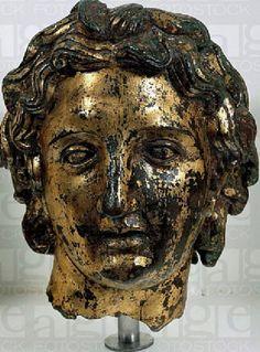 head of Alexander  Hellenistic statue in gilded bronze#greece