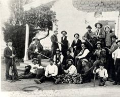 Dove hunting party at Rancho Los Encinos, circa 1905-1910. At the time of this picture the ranch was owned by the Amestoy family.  The image was taken next to the de la Osa adobe now located in the Los Encinos State Historic Park in Encino, California.  Rancho Los Encinos. San Fernando Valley History Digital Library.