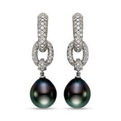 Mastoloni Pearl & Diamond Earrings.  Available at Houston Jewelry!  www.houstonjewelry.com