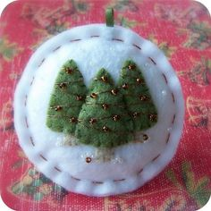 Holiday Forest - Olive on White - Felt Christmas Ornament - from TheTinyGarden on etsy