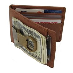 Continental Leather Bottle Opener Money Clip Front Pocket Wallet