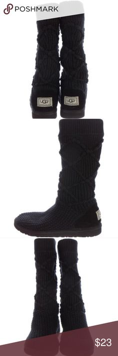 Black Knit Ugg Boots - Size 7 Black Knit Ugg Boots size 7. Authentic and would be glad to include any pictures to further prove authenticity.  Has a few minor flaws as pictured.  Feel free to ask any questions you may have. UGG Shoes Winter & Rain Boots