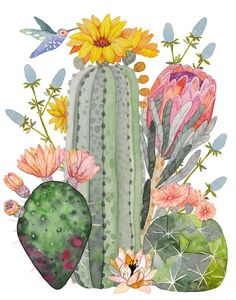 """""""Cactus Collection"""" an Archival Print of my original watercolor painting. - Illustration - """"Cactus Collection"""" an Archival Print of my original watercolor painting. Signed on the front. Art Aquarelle, Art Watercolor, Watercolor Cactus, Watercolor Illustration, Simple Watercolor, Watercolor Animals, Watercolor Background, Watercolor Landscape, Cactus Illustration"""