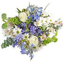 I love this! $158 at Sam's Club. Includes:  •2 White Agapanthus   •2 White Roses   •4 White Alstroemeria   •3 White Daisy Poms   •2 Blue Delphinium   •2 Bells of Ireland   •2 Blue Limonium   •3 Green Hypericum   •2 Papyrus   •2 Eucalyptus