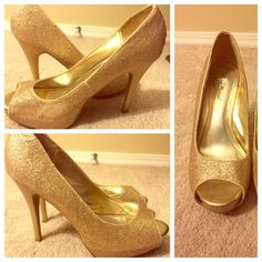 "Gold Glitter Peep Toe Heels Glitter, golden peep toe heels with a 4"" heel. Inner part is slightly scuffed with less glitter due to wear. Fairly comfortable for those who wear size 8.5 Shoes Heels"