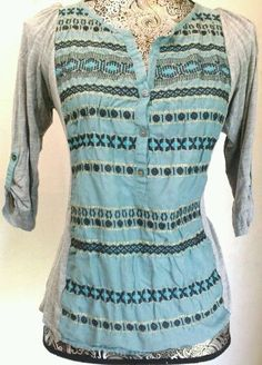 TINY ANTHROPOLOGIE SILK EMBROIDERED HENLEY JERSEY TOP BOHO 3/4 SLEEVE M TUNIC  #TINY #Blouse #Casual