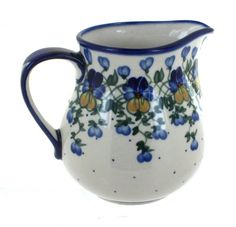 Pansies Pitcher Blue And White Dinnerware, Baker Shoes, Polish Pottery, Glazes For Pottery, Pansies, Stoneware, Ceramics, Things To Sell, Rose