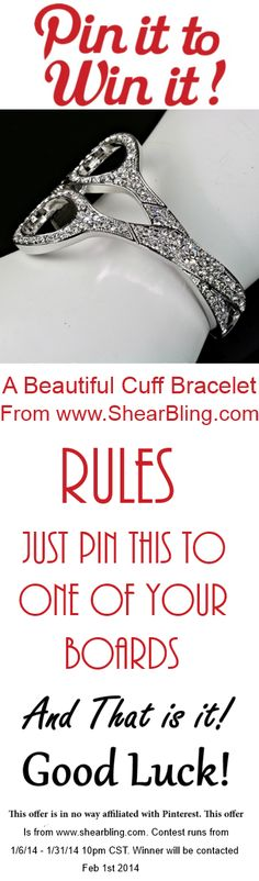 Pin It to Win It! Who is ready for a #Pin #To #Win Contest? How about this beautiful Cuff Bracelet by Shear Bling? Contest runs throughout the month! All you have to do is pin this to be entered. Good Luck! #Salon #Hair #Beauty #Nails #Makeup #Contest #Jewelry  www.shearbling.com