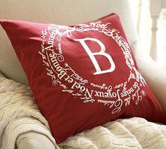Joyeux Noel Embroidered Pillow Cover #potterybarn