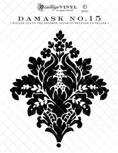 Listing is for one 6 inch high Damask vinyl decal or one time use stencil {starting at Widths will vary depending on the design. Stencils, Damask Stencil, Stencil Art, Stencil Designs, Damask Tattoo, Baroque Pattern, Stenciled Floor, Vinyl Paper, Swirl Pattern