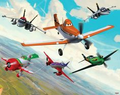 Disney Planes (Disney Planes) - Walltastic Wallpapers - A fantastic Disney planes mural, featuring Dusty, a plane with dreams of competing as a high-flying air racer. Cartoon style multi-coloured design.