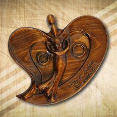 Különleges formájú gyűrűtartó fából, díszdobozban - Mívesfa