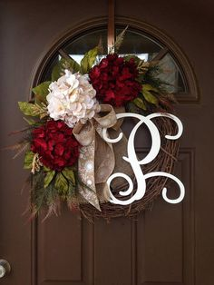 Picture#4 shows script alphabet (12) Picture #5 shows curly alphabet ( 8)  ***The style of the wreath pictured is 12 white script.***  NEW design for our 2018 Spring Collection !  Burgundy and taupe hydrangeas beautifully blend together with hydrangea and peony leaves,accented with sage