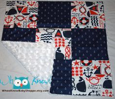 Nautical baby shower gift ideas Minky Blanket Baby Blanket Quilt Rosette by WhooKnewBabyShoppe