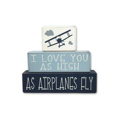 Airplane Nurser Decor - Custom - Airplane Nursery - wood blocks by AppleJackDesign on Etsy https://www.etsy.com/listing/512992023/airplane-nurser-decor-custom-airplane