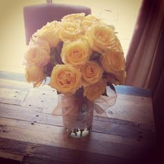 Yellow Roses Mason Jar Centerpiece