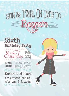 Printable Ice Skate Party Invitation by Beth Kruse by BethKruseCC