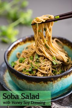 Soba Salad with Honey Soy Dressing. Soba Salad with Honey Soy Dressing. Easy Japanese Recipes, Japanese Food, Asian Recipes, Japanese Salad, Vegetarian Recipes, Cooking Recipes, Healthy Recipes, Fast Recipes, Cooking Ideas
