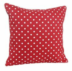 Homescapes - 100% Cotton - Polka Dots - Filled Large Cushion - 60 x 60 cm Square - 24 x 24 Inches - Red White - 100% Cotton - Cover Well Fil...