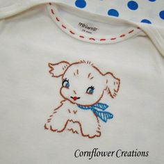 Vintage Look Puppy Onesie  Hand Embroidered by Corπανα σκυλακιnflowerCreations, $15.00