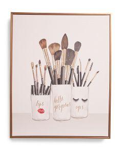 16x20 Makeup Brush Trio Canvas Wall Art Makeup Wall Art Makeup Room Decor Bathroom Canvas Art