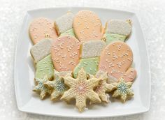 Mittens, Snowflakes and Stockings Platter by Lucy (Honeycat Cookies)