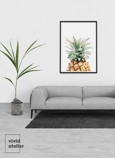 Pineapple wall art print is instantly downloadable digital design for any home…