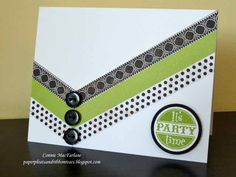 Paper Pleats and Ribbon Roses: Graphic Green Birthday Card.  Would work well with ribbon too.