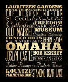 Omaha Nebraska Typography Art  Canvas / Bus  / by LegacyHouseArt, $164.95