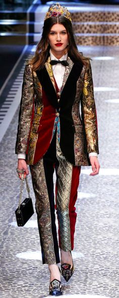 Dolce&Gabbana Outono inverno 2017/18 MFW - terno Brocado Patchwork