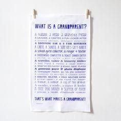 Tea towel with a poem about grandparents