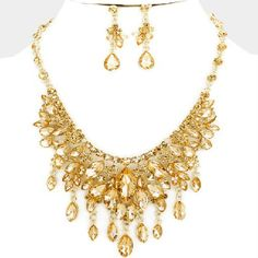 HIGH END GOLD CHUNKY CRYSTAL PROM WEDDING FORMAL NECKLACE JEWELRY SET TRENDY #Unbranded