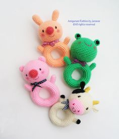 Animal Donut Rattle Toy PDF Crochet Pattern by jaravee Crochet Baby Toys, Crochet Diy, Crochet Toys Patterns, Crochet Gifts, Amigurumi Patterns, Crochet Animals, Crochet For Kids, Crochet Dolls, Baby Knitting