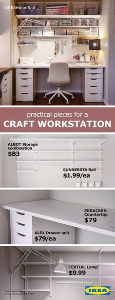 Practical pieces for a craft work station from the IKEA Home Tour Squad. The ALG.Practical pieces for a craft work station from the IKEA Home Tour Squad. The ALG. - ALG craft Home IKEA pieces Ikea Storage, Craft Room Storage, Craft Organization, Closet Organization, Organizing Ideas, Storage Drawers, Bedroom Storage, Alex Drawer Organization, Wall Storage