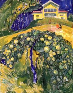 Edvard Munch, Apple Tree in the Garden. Edvard Munch was a Norwegian painter and printmaker whose intensely evocative treatment of psychological themes built upon some of the main tenets of late 19th-century Symbolism and greatly influenced German Expressionism in the early 20th century.