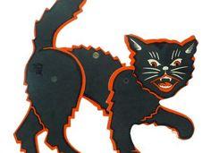 Vintage BLACK CAT Halloween Decoration (1960?s) H E Luhrs