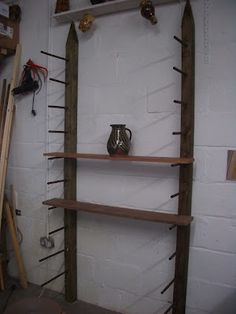 an idea for shelves for pottery area