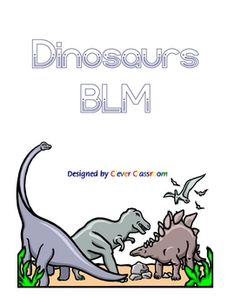 Dinosaur BLM eBook Themed Unit - PDF file73 page printable, themed resource.This PDF is an integrated unit with literacy, science and math ...