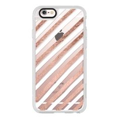 Modern hand drawn white rose gold geometric stripes pattern by Girly... ($40) ❤ liked on Polyvore featuring accessories, tech accessories, iphone case, iphone cover case, apple iphone cases, white iphone case, iphone hard case and iphone cases