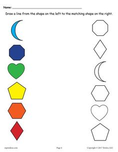 6 free shapes matching worksheets shapes worksheetsfree printablecoloring toddlers - Free Printable Toddler Worksheets