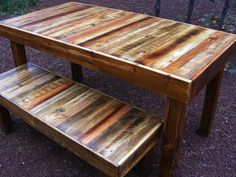 Rustic Reclaimed Wood Dining Room Table and matching bench with Square Post legs