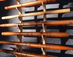 Solid Red Oak cresent flute stand holds 4 by Nativewoodworks