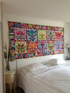 Kim McLean's Lollypop Trees pattern as a wall quilt by Fanny Eikelenboom‎. Posted by Quiltville on Facebook. Pattern at http://www.gloriouscolor.com/store.php?cat=128.