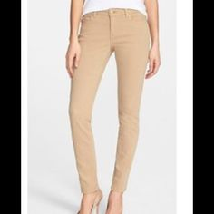 """Michael Kors Skinny Jeans First photo is of model wearing this style of Jeans. Last 3 pix are actual item and color. Michael Kors Skinny Jeans are made of 98% Cotton and 2% Spandex. Size 4. Color Tan. Laying flat """"14. Length """"38. Inseam """"28.5. Rise """"8.5. This item is NOT new, It is used and in Good condition. Authentic and from a Smoke And Pet free home. All Offers through the offer button ONLY.  Ask any questions BEFORE purchase. Please use the Offer button, I WILL NOT negotiate in the…"""