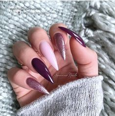 (no title) 15 hot almond-shaped nail colors to inspire you to creative nail designs for short nails to create unique stylesNew Style Comb is an innovative . Aycrlic Nails, Stiletto Nails, Hair And Nails, Cute Acrylic Nails, Cute Nails, Nagel Bling, Burgundy Nails, Gorgeous Nails, Trendy Nails