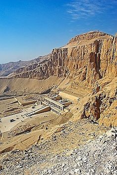 View into the Valley of Deir el-Bahri, with the Temple of Hatshepsut, Deir el-Bahari, Luxor, Luxor Governorate, Egypt