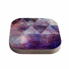 Kess InHouse Suzanne Carter 'Geometric stars' Purple Black Coasters (Set of 4) (Geometric stars) (Wood)