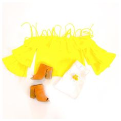 On Saturdays, we wear YELLOW. BRIGHT YELLOW! 💛 @dressmingle is open every Saturday from 9am-3pm. #dressminglen#showstopper #bellsleeve #ootn #wiw