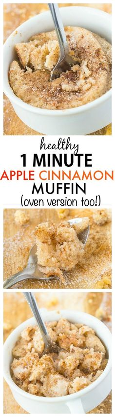 Healthy 1 Minute Apple Cinnamon Muffin recipe- A quick and easy one minute muffin which is moist, fluffy and less than 100 calories- Naturally sweetened and SO delicious- An oven option too! {vegan, gluten free, paleo option} (mug recipes 100 calories) Mug Recipes, Muffin Recipes, Low Carb Recipes, Cooking Recipes, Healthy Recipes, Cake Recipes, Healthy Microwave Recipes, Diet Recipes, Recipies